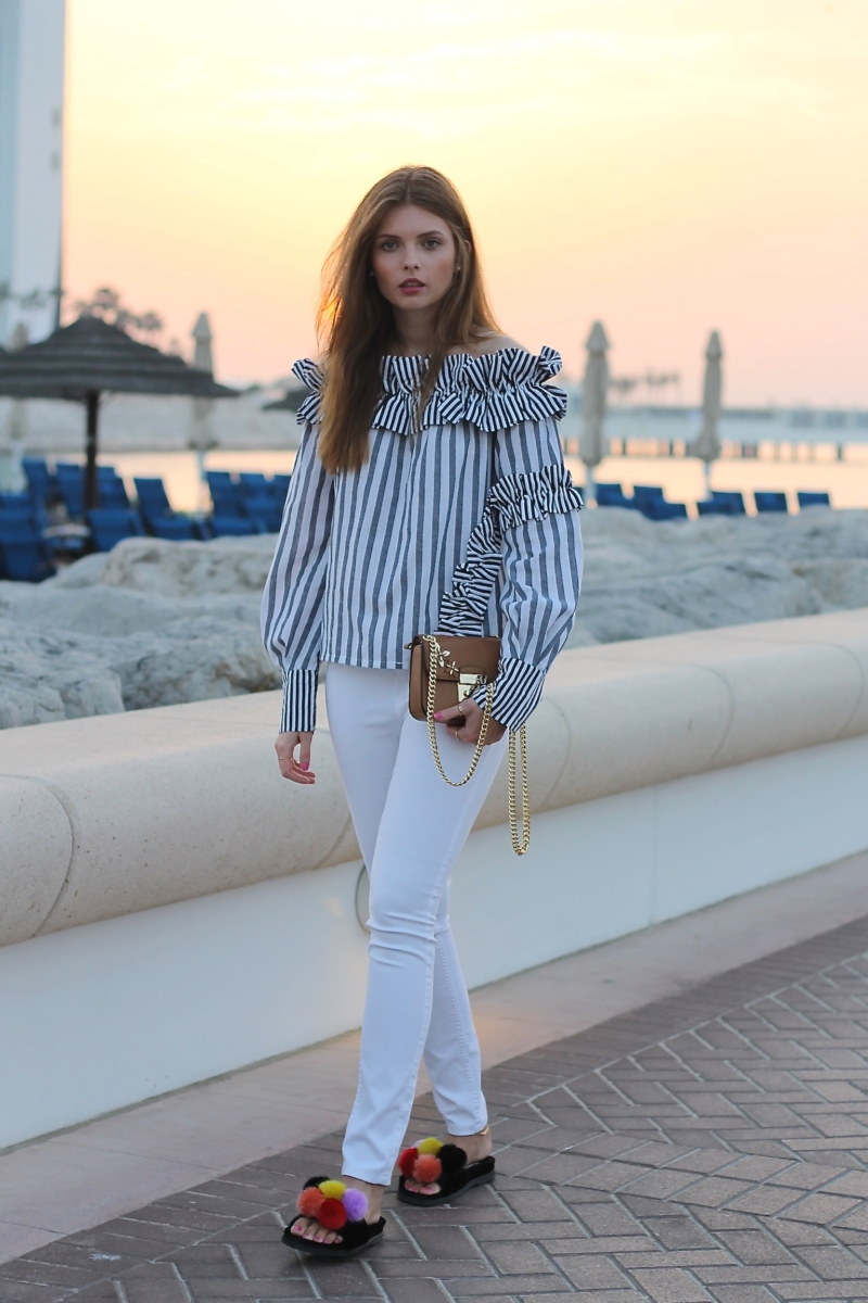 file9 1 - BLUE-WHITE STRIPED RUFFLE BLOUSE & BACKLESS SLIPEPRS