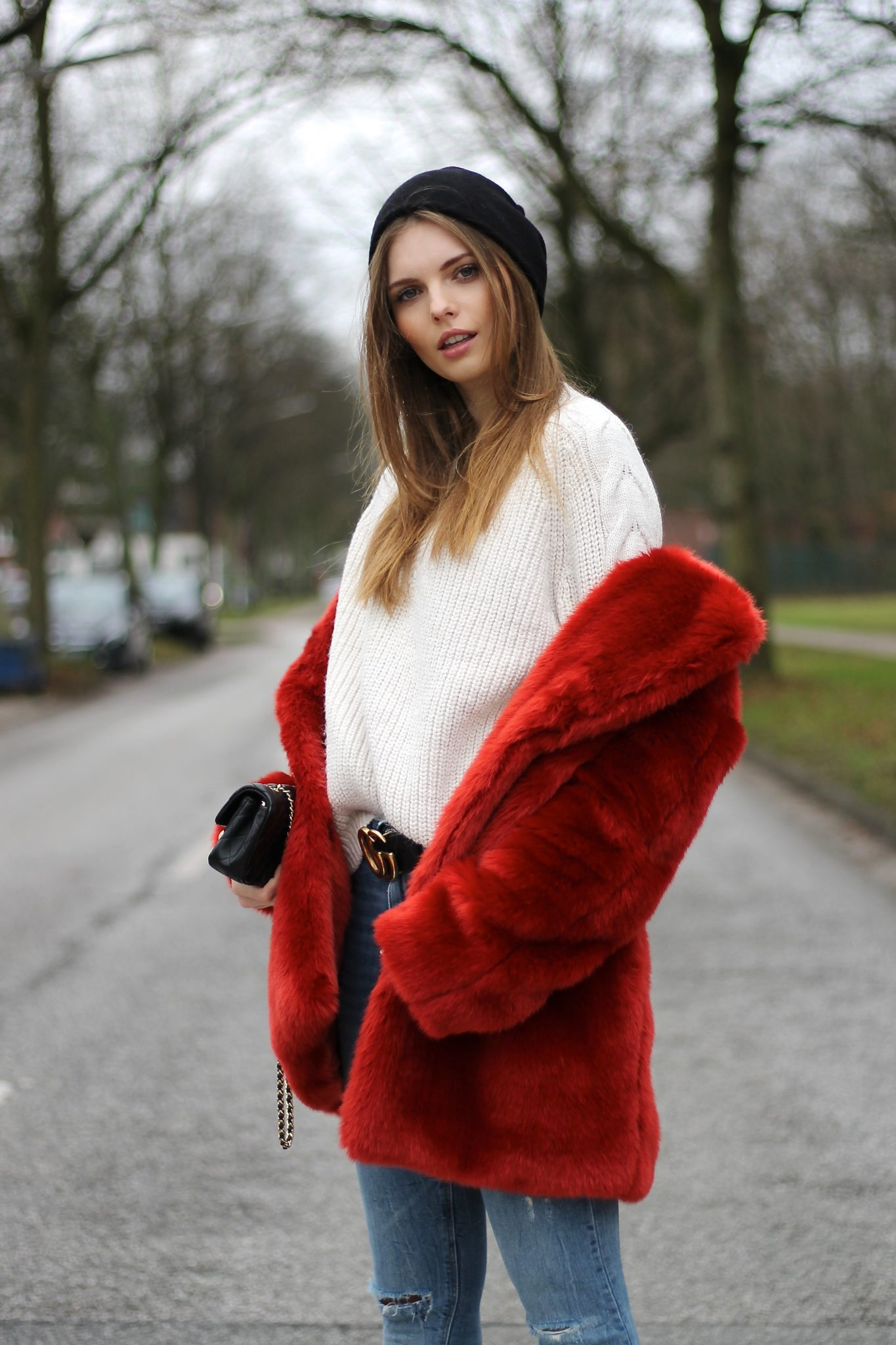 IMG 7584 - AUTUMN COLOR RED I H&M FAUX FUR COAT