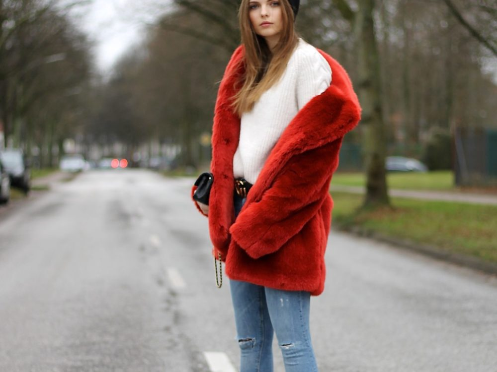AUTUMN COLOR RED I H&M FAUX FUR COAT