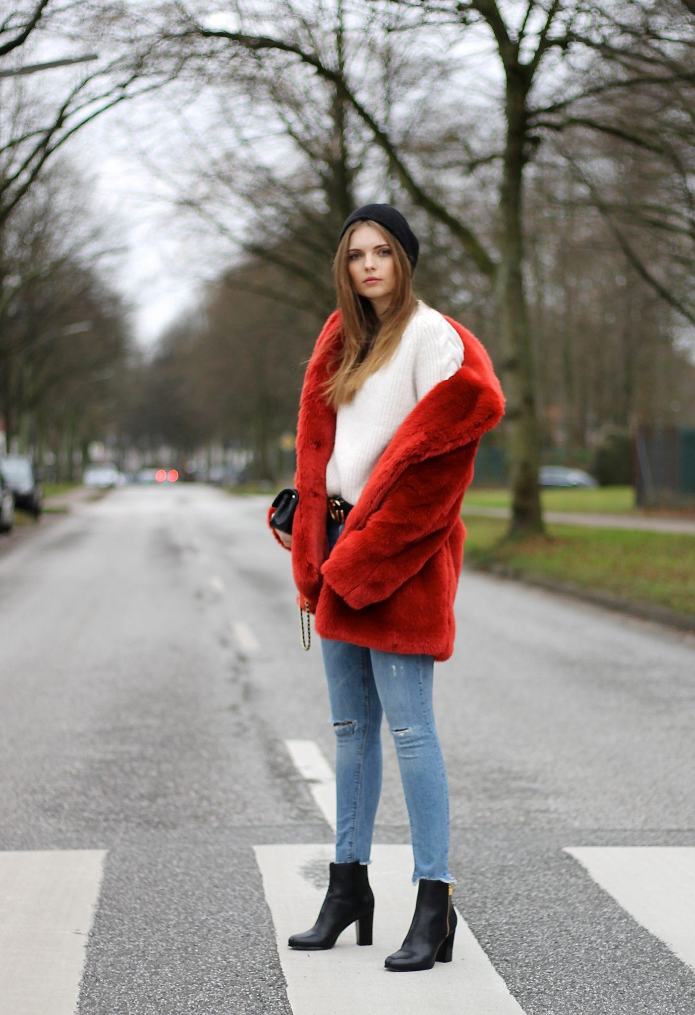 IMG 7655 - AUTUMN COLOR RED I H&M FAUX FUR COAT